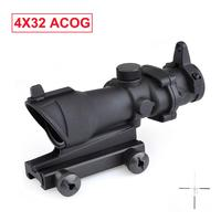 Tactical Triji ACOG 4x32 Optical Rifle Scope Red Dot Iron Optical Outdoor Hunting Riflescope sight Red Green Reticle With Mount