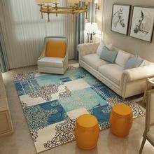 Vintage Fashion European Floral Style Nordic Blue Nonslip Soft Floor Door Mat Parlor Living Room Home Decoration Carpet Area Rug