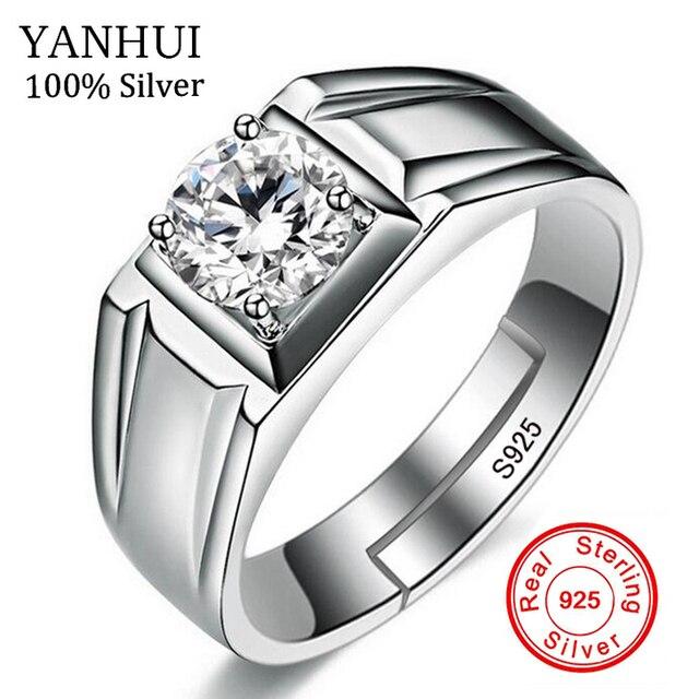 Yanhui Luxury Men Rings Resizable Natural 925 Sterling Silver Wedding Jewelry 1 Carat Diamant