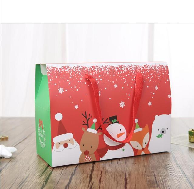 large christmas gift box wiht handle high grade xmas present food packaging box red decoration big - Large Christmas Gift Boxes