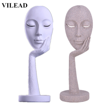 VILEAD 15Inch Sandstone Abstract Mask Figurines Miniatures Artistic Mask Statuettes Vintage Home Decor Office Souvenirs Gifts
