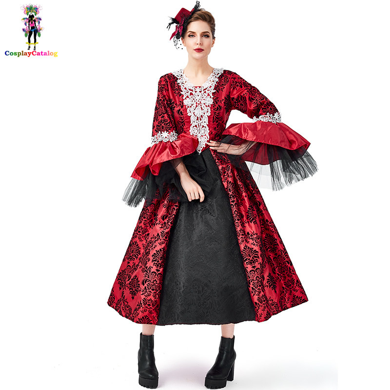 Ladies Gothic Vampire Halloween Vamp Costume Horror Fancy Dress Party One Size