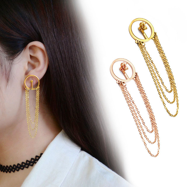 Stainless Steel Long Gold Color Stud Earrings Anium Prize Money Allergic For Women Fashion