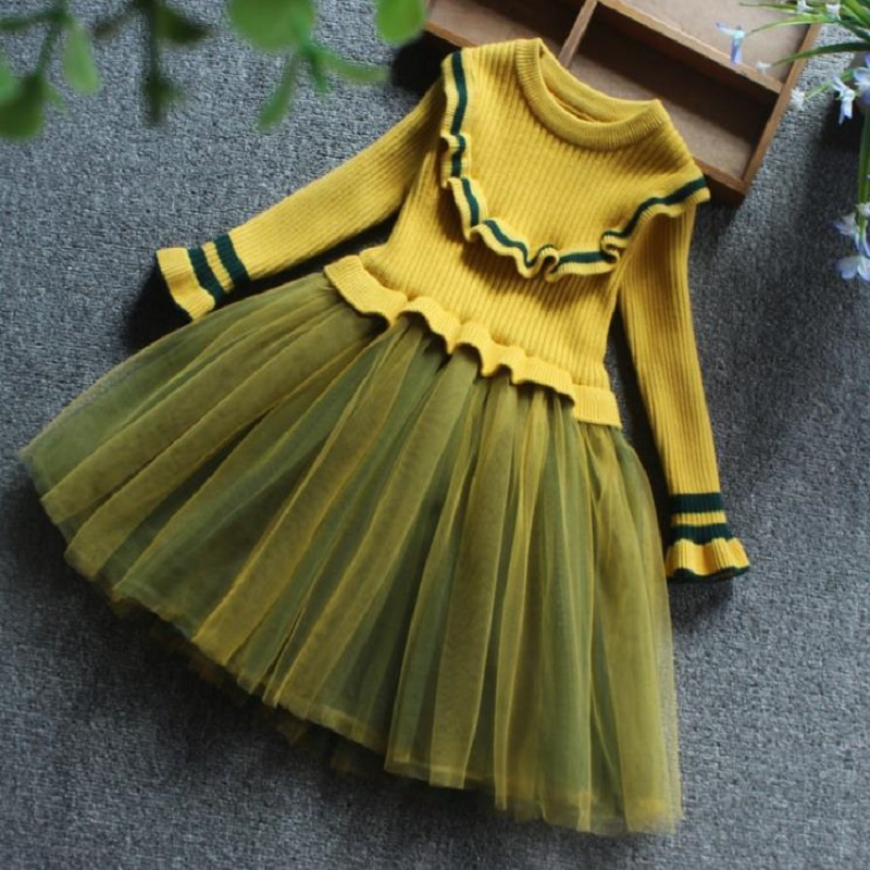 NICBUY Autumn Winter Spring Kids Girls Long Sleeve Tutu Dress Girl Lace Party Dresses Children Velvet Princess Wedding Clothes autumn girls children s kids baby long sleeve lace mesh tutu patchwork basic dresses princess wedding party dress vestidos s5691