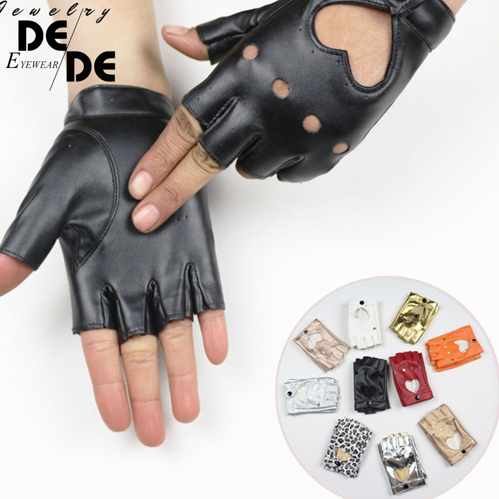 Women's Semi Finger Hip Hop Gloves Lady's Leather Heart Cutout Sexy Fingerless Gloves Girls Performance Dancing Glove