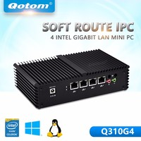 QOTOM 310G4 3215U Barebone Mini Pc Dual Core 4 Nics Mini Pc Ubuntu Industrial Desktop Computer