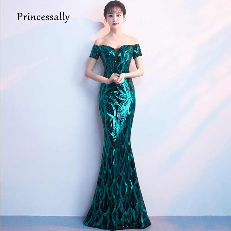 Sequin Mermaid Evening Dresses Sexy V neck Sleeveless Color Fade Sparkly  Mermaid Dress Formal Prom Party e2f43423c857