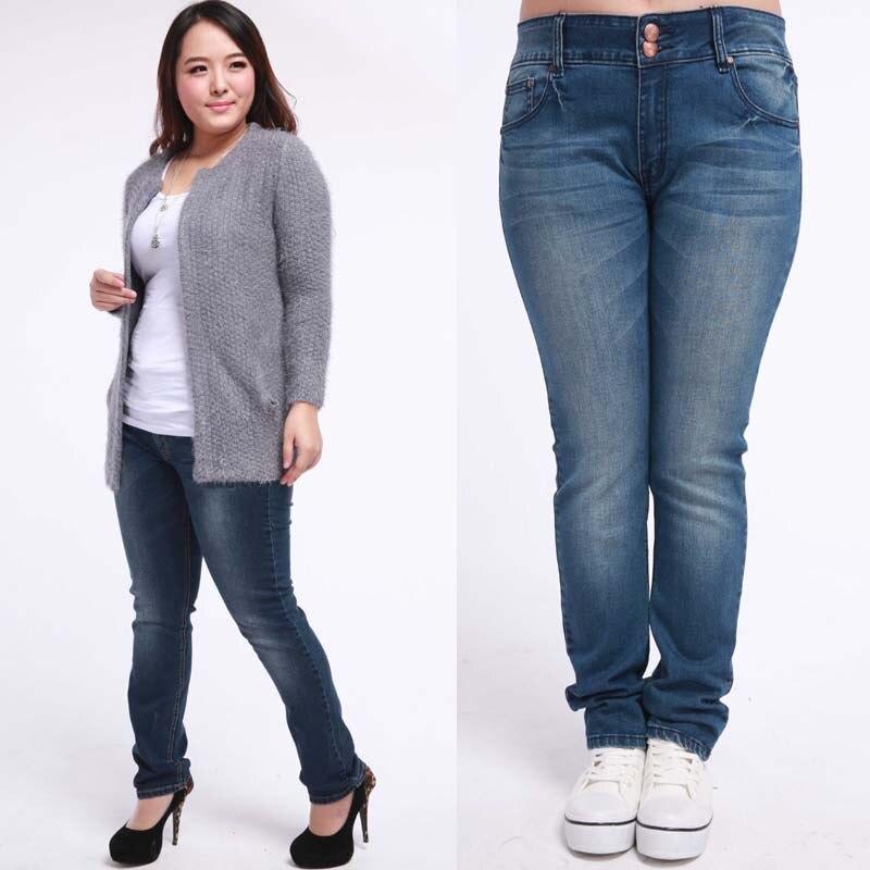 2015 New Fashion Women Pants Plus Size Stretch Skinny High Waist Jeans Pants Women Blue Pencil