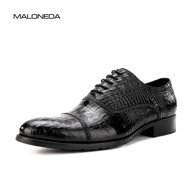 MALONEDA Free Shipping Brand New Handmade Crocodile Pattern Leather Shoe Good Lace-up Oxford Dress Shoes For Men's Wedding Party