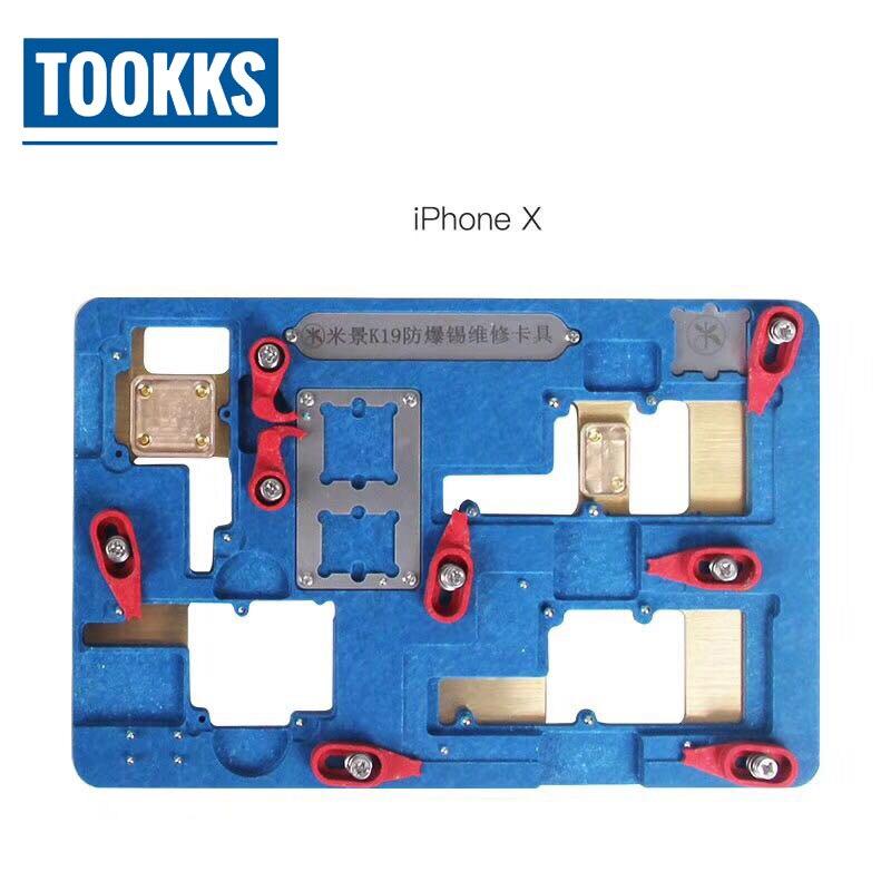 IPhone X Carte Mère De Réparation PCB Titulaire Jig Mobilier iPhone X Rebillage Plate-Forme avec Rebillage Pochoir De Refroidissement CPU Protecteur