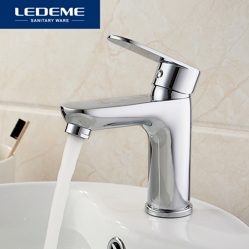 LEDEME Basin Faucets Water Tap Cold And Hot Love HandleBathroom Faucets Bottom Horizontal Basin Chrome Faucet L1010
