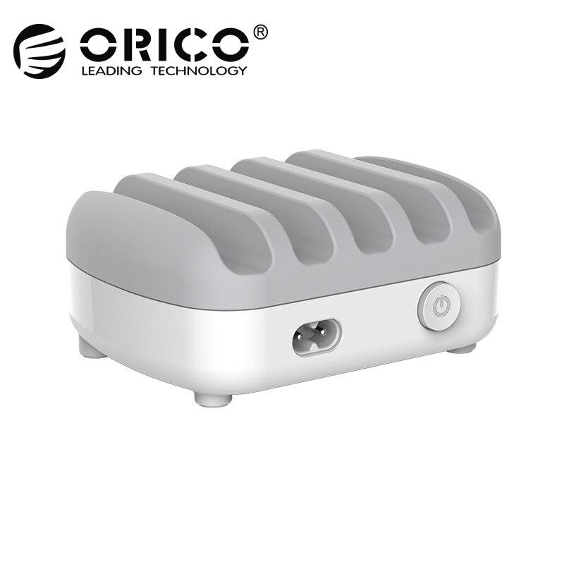 ORICO USB Зарядное устройство 5 Порты 5 В 2.4A 40 Вт зарядная станция Desktop смартфон Tablet Зарядное устройство с подставкой для iPhone 7 Plus Зарядное устройс...