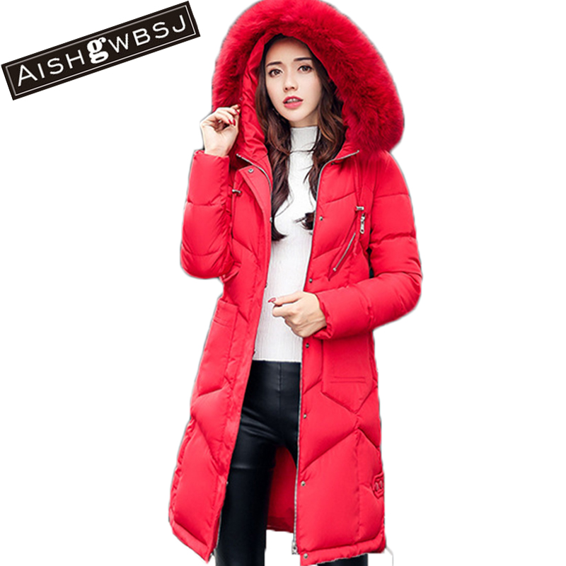 AISHGWBSJ 2017 new women long jackets winter clothes thick coat with big fur collar for female slim korean solid parkas PL016 2017 winter new clothes to overcome the coat of women in the long reed rabbit hair fur fur coat fox raccoon fur collar
