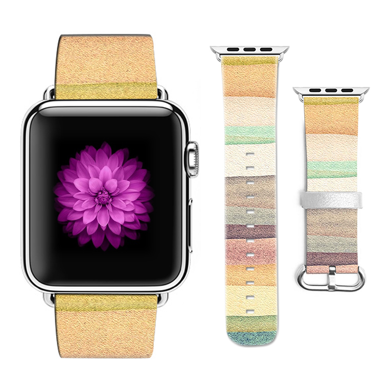 Original Desing Colorful Style Leather Watchband for Apple Watch 38mm 42mm Band for Iwatch Series 2 3 Band Gifts for IPhone Case ремешок кожаный ibacks premium leather watchband для apple watch 38мм классическая пряжка ip60176 pink