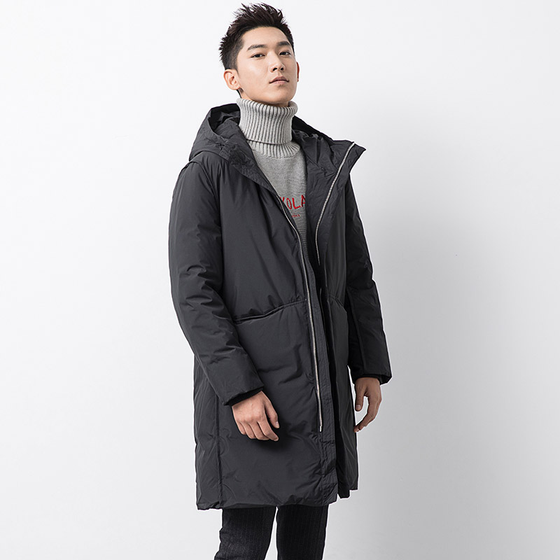 Solid black hooded thickening warm winter   down     coat   outerwear men pockets medium long   down   jacket new 2019 autumn