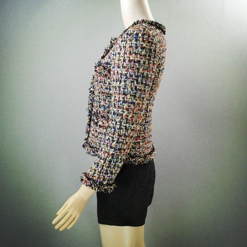 Top Brand 2019 Nieuwe Mode Vrouwen Tweed Korte Jas Slim Fit Twill Getrimd Vrouwelijke Uitloper Jas Formele Partij Elegante Dame jassen - 4