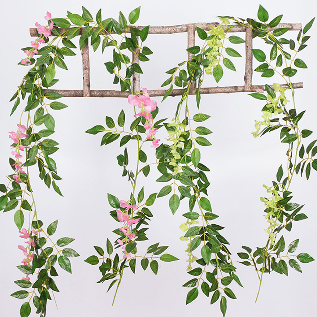 Artificial Wisteria Leaves Vine Fake Greenery Garland For Wedding