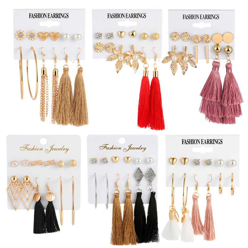 Multi Design Long Tassel Earrings 2019 Bohemian Flower Love Heart Geometric Stud Earrings for Women Female Wedding Jewelry