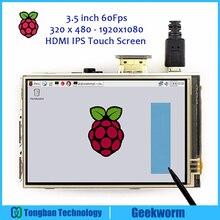 Écran tactile Raspberry Pi 4 60fps, écran tactile 3.5 pouces 320x480 1920x1080, OSD HDMI, IPS pour Raspberry Pi 4 modèle B/3B +/3B/2B/Zero W