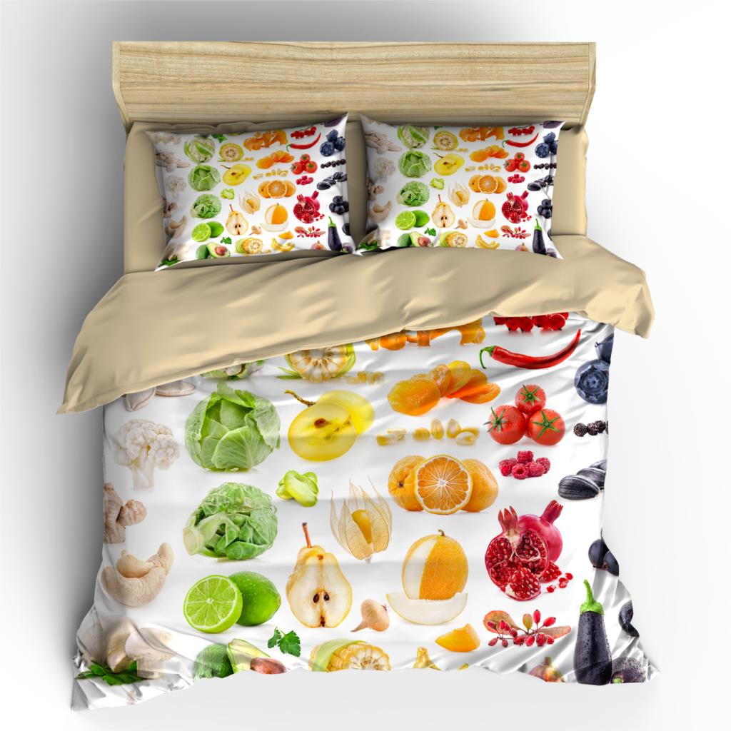 AHSNME High Definition Fruit & Fruit Cover Sets Summer Bedding Set Cool Pattern Bedlinens Gift King Bedding Set(China)