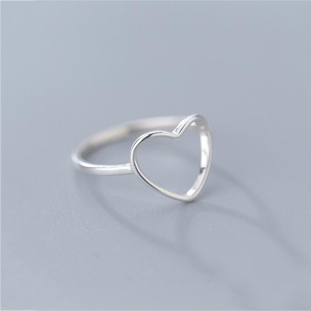 INZATT Genuine 925 Sterling Silver Minimalist Ring For Women Wedding Hollow Heart Fashion jewelry Cute Valentine's Day Gift 2