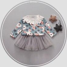 Retail 2017 Baby Girl Fashion Dress Kids Spring Dresses Girls Brand Dress Princess Baby Lace Dress Free Shipping
