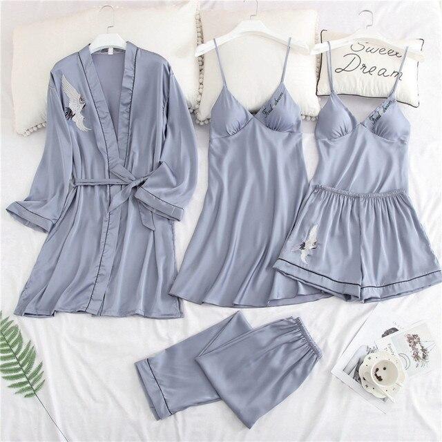נשים פיג 'מה 5 חתיכות סאטן הלבשת פיג' מה משי בית בגדים מנוף רקמה שינה טרקלין Pyjama עם חזה כרית