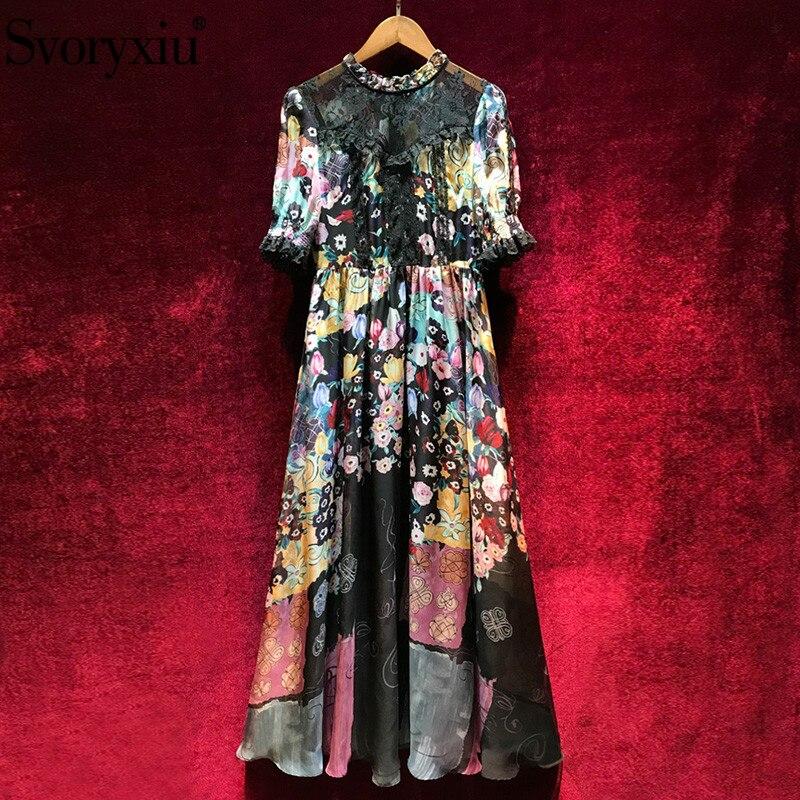 Svoryxiu 2019 Runway Summer Sexy Maxi Dress Women s Elegant Half Sleeve Black Lace Patchwork Vintage