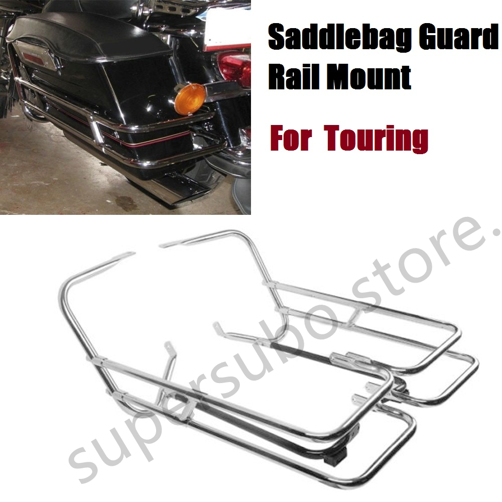 Motorcycle chromed Saddlebag Guard Rail Mount For Harley Touring Road King Electra Street Glide