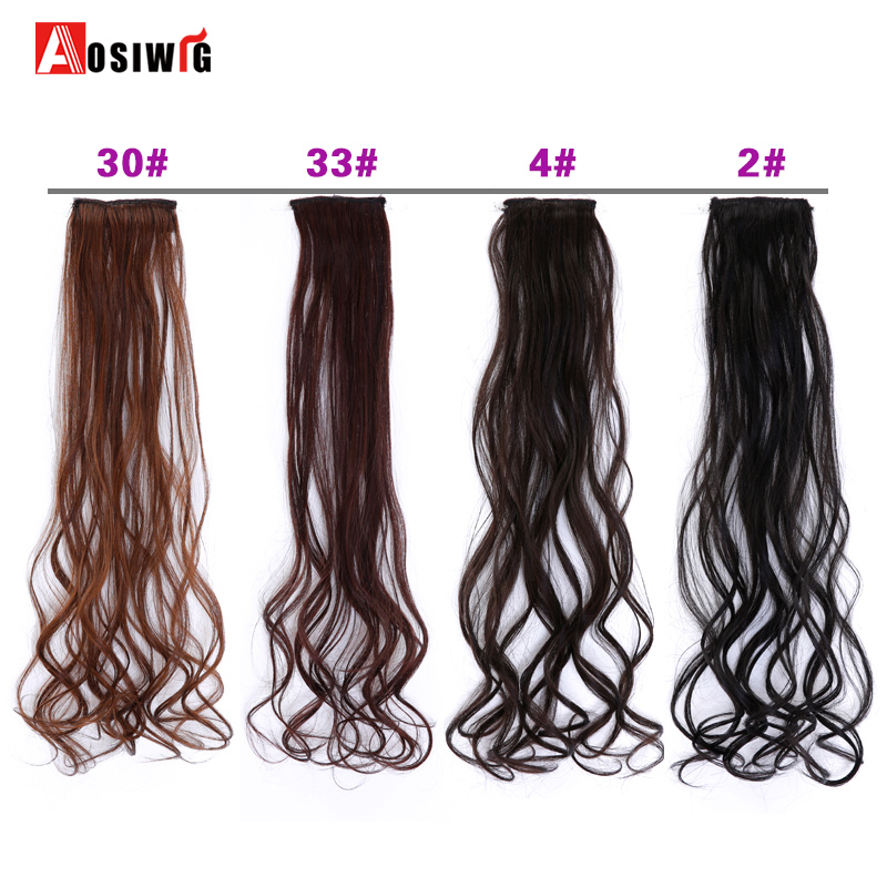 Synthetic Pure Color Long Wavy Hair Extensions 1 Piece 2 Clip-in High Temperature Fiber Hair Extensions For Women AOSIWIG