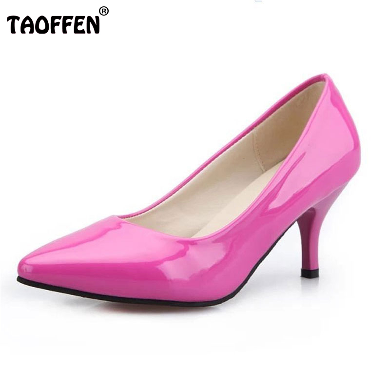 TAOFFEN Women Pumps Thin Heels High Heel Shoes Europe America Style Sexy Zapatos Mujers Women's Footwear Ladies Shoes WA0026 sexy women semi transparent lace high heels new 2017 ladies sequin shoes slip on thin heel pumps free shipping