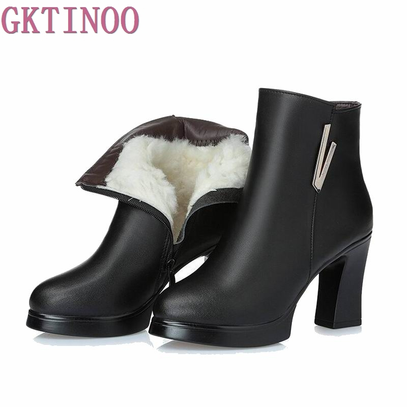 GKTINO New Fashion Autumn Winter Shoes Woman Genuine Leather Boots Women Boots with Thick High Heels Ankle Boots Wool Snow Boots fashion woman s striped beanies hat 2016 new autumn winter knitted warm wool casual girl cap for woman skullies chapeu feminino