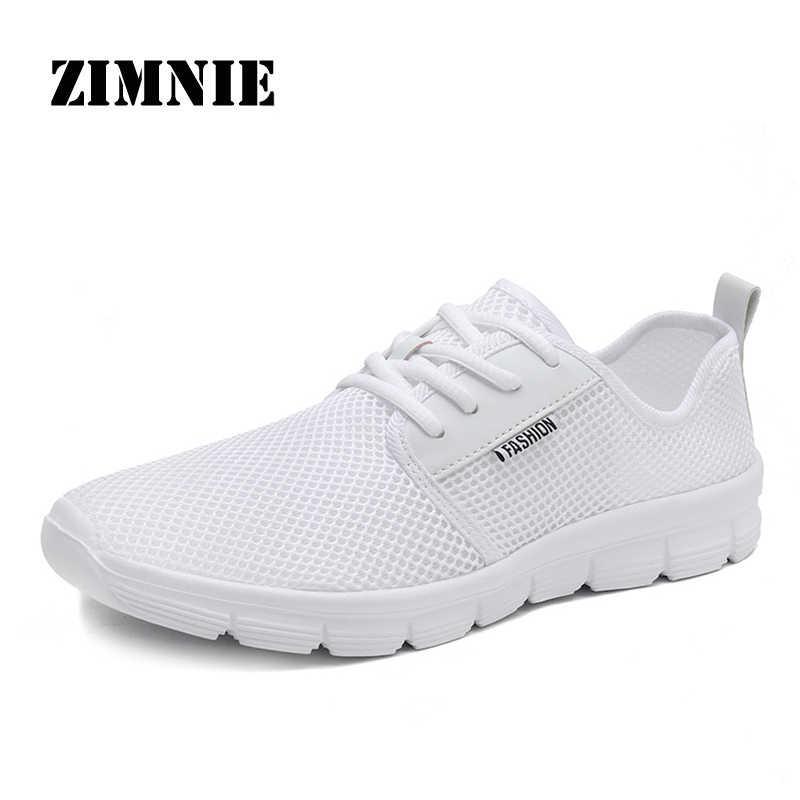 ZIMNIE marka 2019 sıcak satmak örgü erkek moda rahat ayakkabılar dantel-up erkek ayakkabısı hafif rahat nefes sürüş ayakkabı
