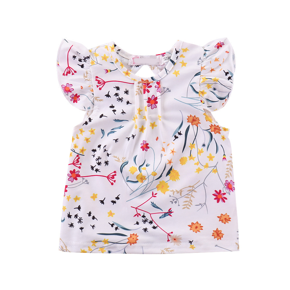 Humor Bear Summer Baby Girls Summer New Clothes Suit Fly Sleeve T-shirt Tops+Floral Skirt+Headband Kids Party Princess Clothing 4