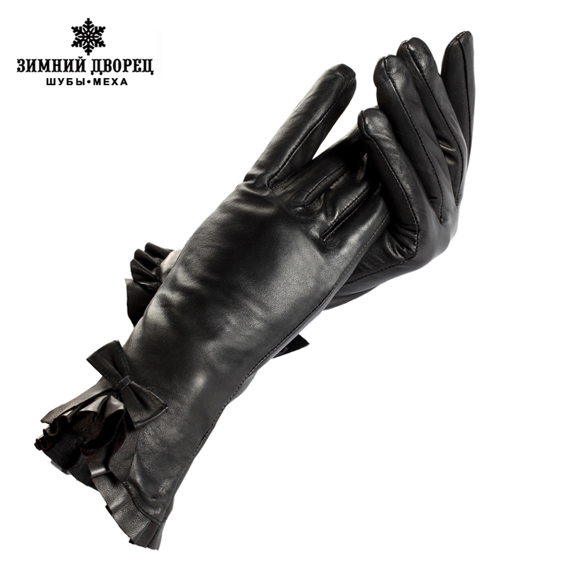 Womens GIoves,Foral,Polyester,Genuine Leather,Length 25 Cm,Black Leather Gloves,Ladies GIoves,Female GIoves,Free Shipping