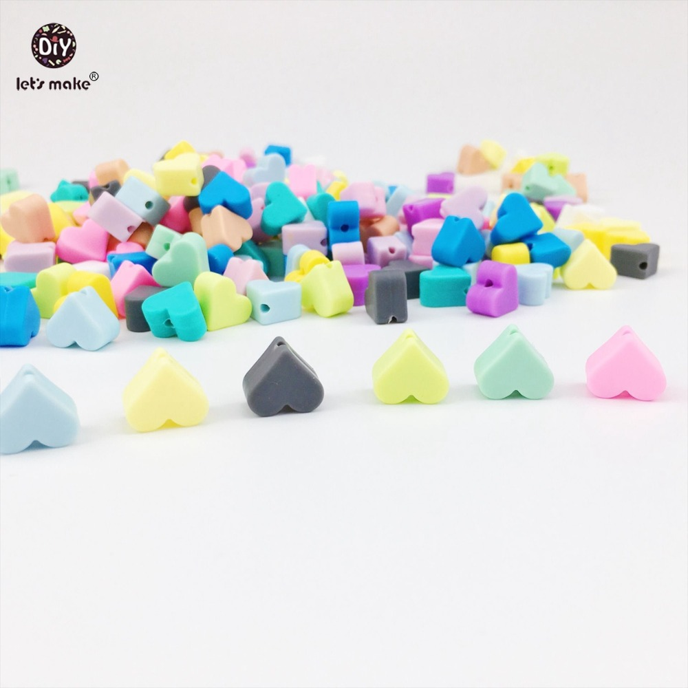 Let s Make 300pc Heart Shape Silicone Beads DIY Crafts Necklace Food Grade Teether Chewable Sensory