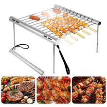 Folding BBQ Grill Stainless Steel Tube Barbecue Bracket Portable Stove Bbq Shelf Household Charcoal Assembly Camping Tools