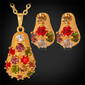 Sistema de la joyería Colgante Collar de Los Pendientes Para Las Mujeres Chapado En Oro de Moda Multicolor de Cristal Austriaco Joyería Fija PE1197