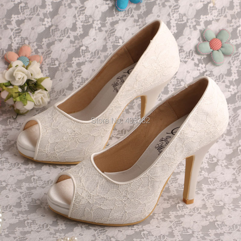 Wedopus Ivory Peep Toe Platform Women Lace Pumps Wedding Bridal Shoes Small Size