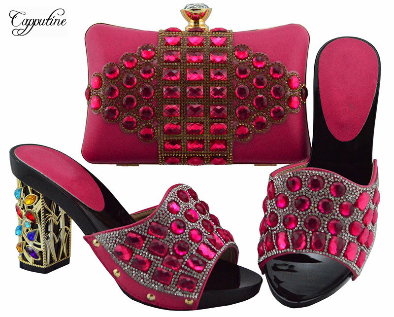 Most fashion fuchsia with stones design high heel sandal shoes with purse handbag set for party lady FGT003 heel height 10cmMost fashion fuchsia with stones design high heel sandal shoes with purse handbag set for party lady FGT003 heel height 10cm