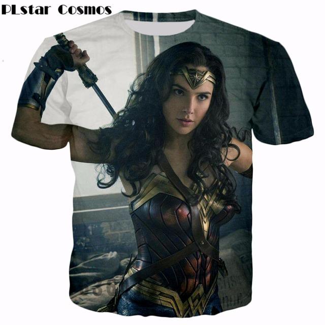 PLstar Cosmos Superhero movie Wonder Woman T-shirts Diana Prince 3d print Men Women Fashion T shirt 2017 summer style t shirt