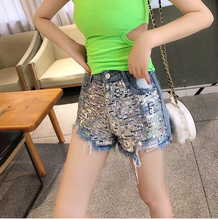2019 Women Summer Holes Sequin Shorts High Waist Club Jean Shorts Sexy Denim Shorts