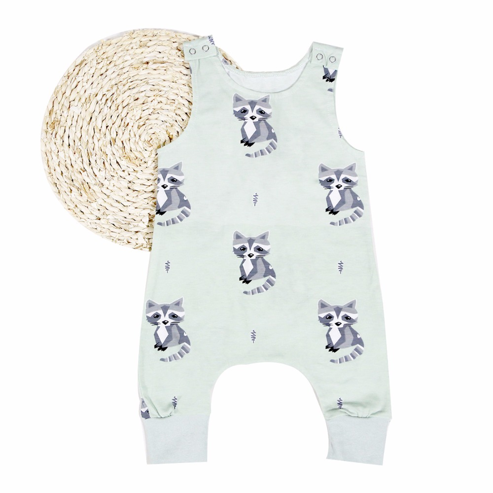 Puseky Summer 2017 Cute Raccoon Pattern Newborn Baby Boy Girl Romper Sleeveless Cotton Jumpsuit Clothes Outfits 0-24M 2017 new adorable summer games infant newborn baby boy girl romper jumpsuit outfits clothes clothing