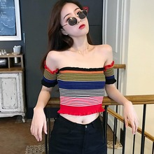 Colorful Print T Shirt Women Striped Short Sleeve Knitted Ruffles Crop Top Sexy Slash Neck T-shirt