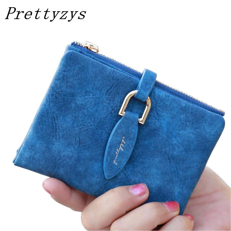Prettyzys señora Snap fastener Cartera de embrague corto vintage Matte mujeres cartera moda pequeño monedero femenino titular de la tarjeta
