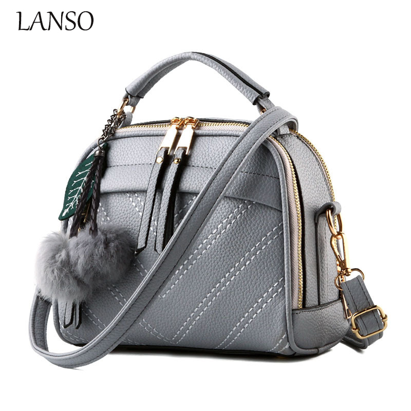 ФОТО Women Famous Brands Bag Made of PU Leather Female Fashion Handbag with Cute Plush pendant OL Style Tote  Ladies Shoulder Bags
