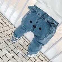 Джинсы с мультипликационным принтом для детей 6-24 месяцев, весенняя одежда для малышей, джинсовые брюки для мальчиков и девочек, детские джинсовые штаны для девочек и мальчиков, штаны для новорожденных, подарок для малышей