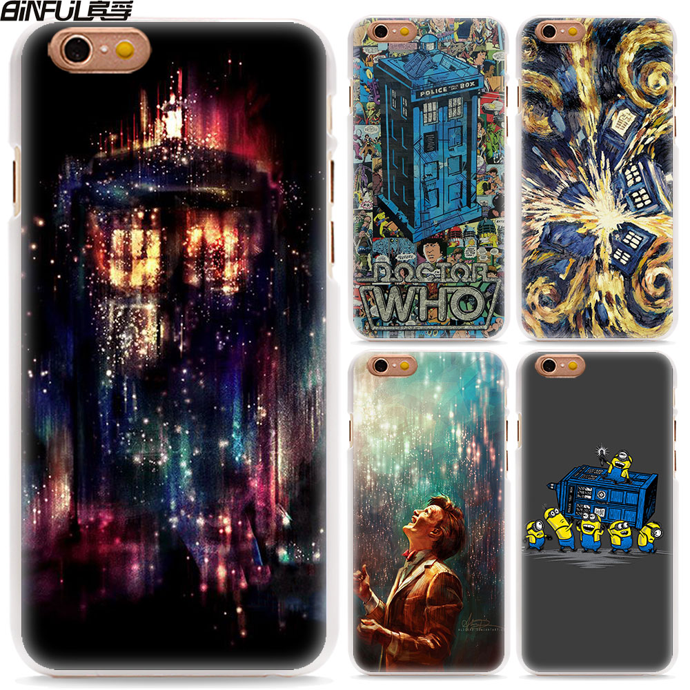 BiNFUL Doctor Who Tardis Police Box style hard White Phone Case Cover for Apple iPhone 8 8Plus 6 7 7Plus SE 6sPlus 5 5s X