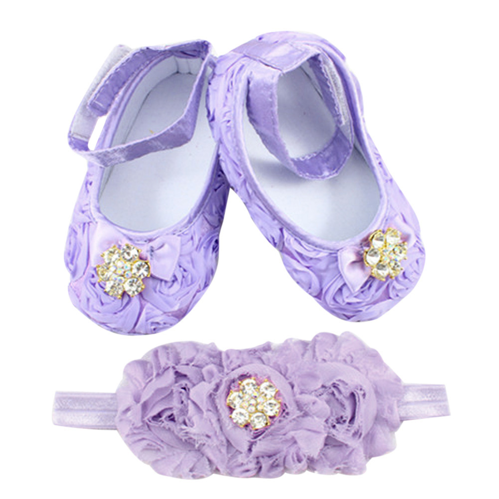 Newborn Baby Girl Shoes Toddler First Walkers Flower Princess Footwear Shoes + Pearl Headband Purple
