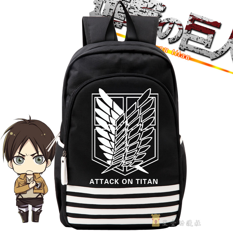 Attack on Titan Anime hot cos schoolbag Logo Cartoon canvas Shoulders backpack boys and girls Leisure Luminous birthday present anime tokyo ghoul dark in light luminous satchel backpack schoolbag shoulder bag boys gilrs cosplay gifts
